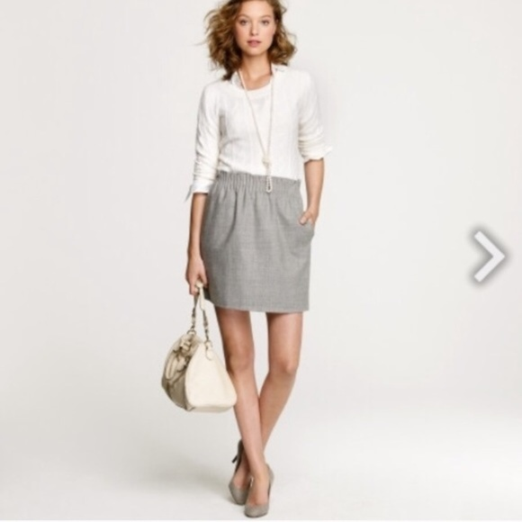 J. Crew Dresses & Skirts - J, Crew Gray Wool Mini Skirt Stretch Waist 2